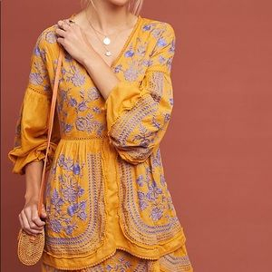 NWT Anthropologie Lisette Embroidered Tunic Dress